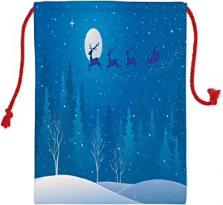 Ambesonne Winter Christmas Gift Sack, Santa Sleigh Flying Over The Woods Reindeer Trees, Santa Sack Bag Canvas Fabric for Gifts and Storage, 19.8