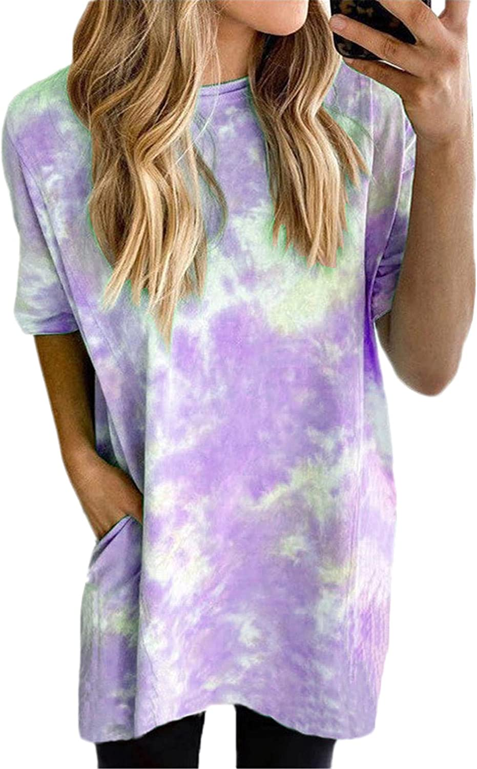 Andongnywell Fixed price Sale price for sale Women's Gradient Print Short Crewneck Sleeve Shirt
