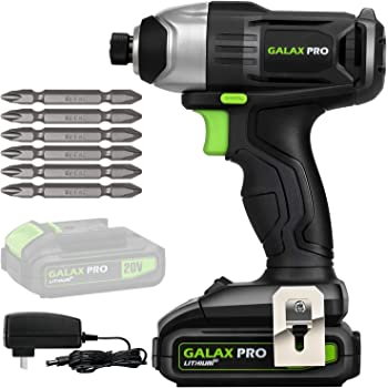 """GALAX PRO 20 V Lithium Ion 1/4"""" Hex Cordless Impact Driver with LED Work Light, 6 Pieces Screwdriver Bits, Variable Speed (0-2800 RPM)- 1.3 Ah Battery and Charger Included"""