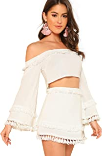 SheIn Women's 2 Piece Outfit Fringe Trim Crop Top Skirt Set