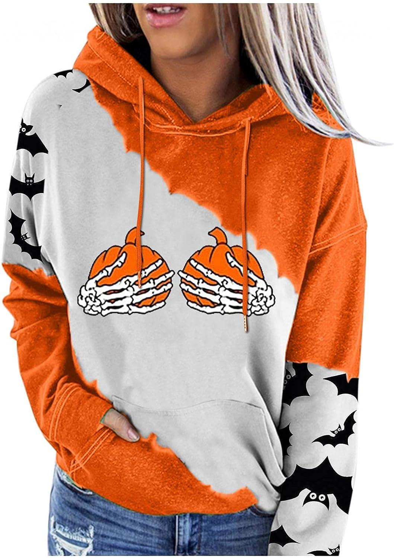 felwors Sweatshirt for Women, Womens Pullover Halloween Colorblock Hooded Sweatshirts Casual Long Sleeve Sweater Tops