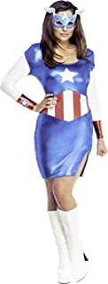 Secret Wishes Marvel Universe Miss American Dream Adult Costume Dress and Eye Mask, As Shown, Large