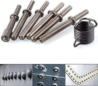Heavy Duty 6 Pcs Air Hammer Rivet Bits, Abuff Pneumatic Air Rivet Hammer Set for Shank 0.401 Chisel/Air Hammer Rivet Sets Kit with Spring
