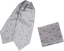 Epoint Men`s Fashion Self-tied Ascot Tie Evening Paisley Cravats Hanky Set, with free Gift Box