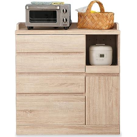 LOWYA ロウヤ キッチン収納 食器棚 チェスト レンジ台 Bタイプ 下段 ナチュラル