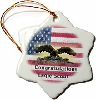 3dRose Image of Grunge Congratulations Eagle Scout On Flag Snowflake Ornament, 3
