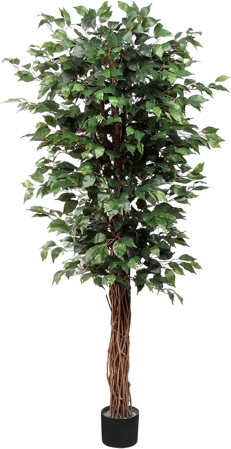 Artificial Ficus Tree 6ft in Pot Plant Elegant Fake with Leav Green Silk Long-awaited