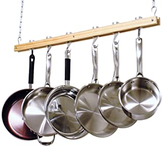 Cooks Standard NC-00269, Single Bar, 36-Inch Ceiling Mounted Wooden Pot Rack, Brown