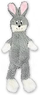 FGA Marketplace Stuffingless Grey Rabbit Flat Dog Toys, Non Squeaky Dog Toy for Medium and Large Dogs 21 Inch