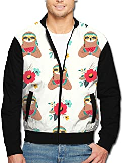 Mens Native American Sloth Fashion Stand-up Collar Jackets Unique Outerwear Print Zipper Hoodies