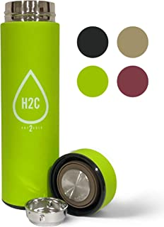 Hot2Cold Stainless Steel Water Bottle Tea Infuser - Double Wall Vacuum Insulated Travel Mug Leak - Sweat Proof Sports Bottle (green)