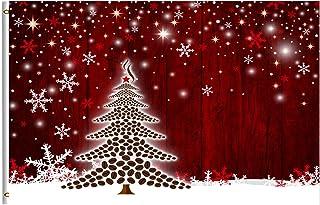 شجرة عيد الميلاد ندفة الثلج العلم 3x5 قدم مع حلقة النحاس الشتاء الثلج الأحمر عيد الميلاد حديقة العلم سعيد عيد الميلاد ديكو...