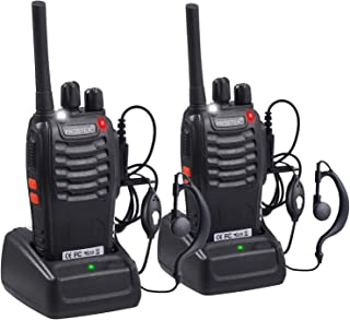 Proster Rechargeable Walkie Talkies Kids 16 Channel Two Way Radios with USB Charger Earpiece Mic Walky Talky 2-Way Radio Transceiver Long Range 1 Pair