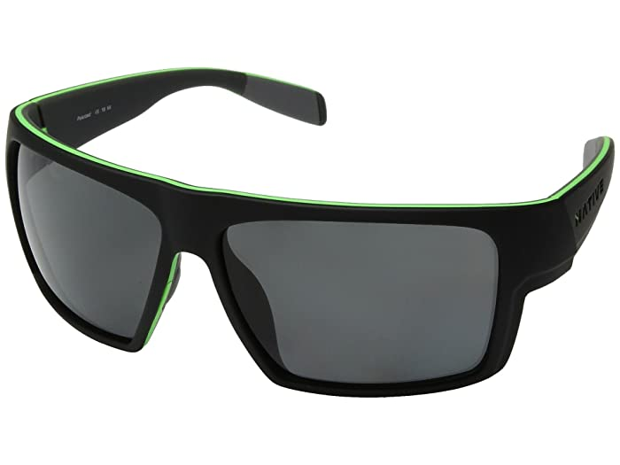 Native Eyewear Eldo (Matte Black/Lime/Dark Gray/Gray Polarized Lens) Sport Sunglasses