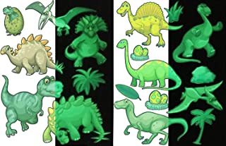 DUOFIRE 11pcs Glow in The Dark Dinosaur Wall Decals and 7pcs Creative Decorative Wall Stickers, High Luminance Glow Removable Waterproof, Perfect for Kids Bedding Room or Birthday Gift