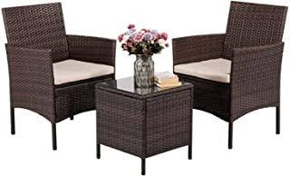Outdoor Garden Tables and Chairs PE Rattan Wicker Chairs Desk for Indoor and Outdoor Porches, Decks and Balconies Furnitur...