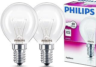 2x Philips Backofenlampe E14 40W Tropfenform 45mm Durchmesser, temperaturfest bis 300°C 2 Stück