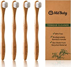 MitButy Tongue Cleaner Scraper, 4-Pack Bamboo Tongue Brush for Adults - Eliminate Bad Breath| More Comfortable Than Stainless Steel Tounge Scrapers