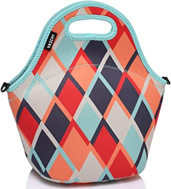 Lunch Bag for Women,Vaschy Big Girls' Neoprene Insulated Lunch Bag Tote One Size Retro Triangle
