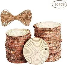 HANBEN Natural Wood Slices 30 Pcs Unfinished Predrilled 1.9