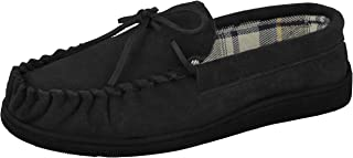 Cushion Walk Mens Real Suede Leather Moccasin Slippers Size 7-12
