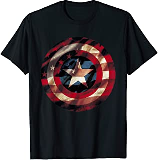 Marvel Captain America Avengers Shield Flag Graphic T-Shirt T-Shirt