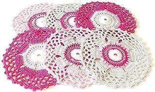 Set 6 posavasos redondos rosa, fucsia y gris de ganchillo - Tamaño: ø 11.5 cm - Handmade - ITALY
