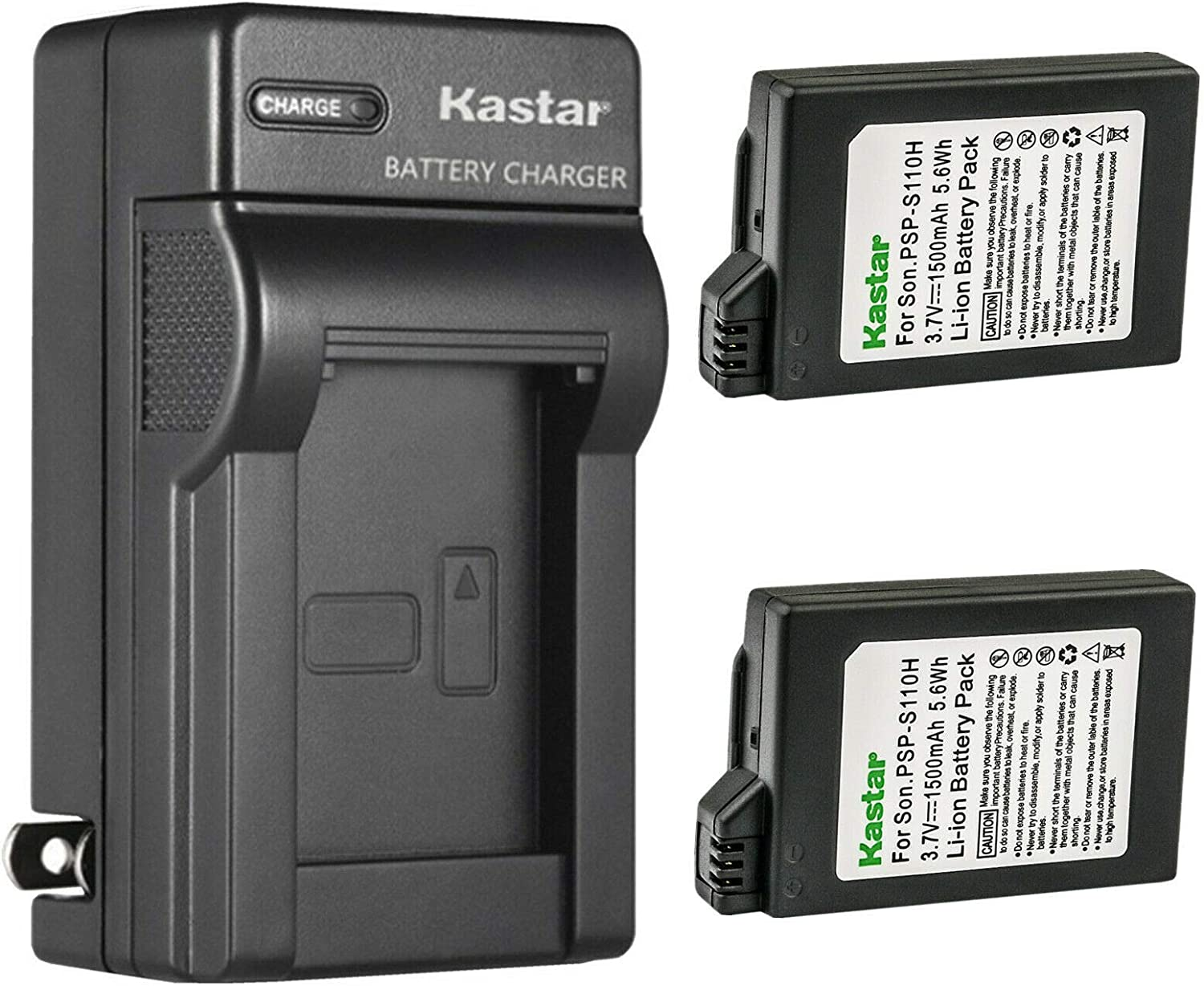 Kastar 2-Pack PSP110 Battery and AC Wall Charger Replacement for Sony PSP-110 Battery, Sony Video Game PSP Playstation PSP-1003, PSP-1004, PSP-1005, PSP-1006, PSP-1007, PSP-1008, PSP-1001, PSP-1002