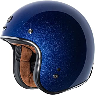 TORC Unisex-Adult Open-face Style (T50 Route 66) 3/4 Motorcycle Helmet with Solid Color (Blueberry Mega Flake), X-Small)