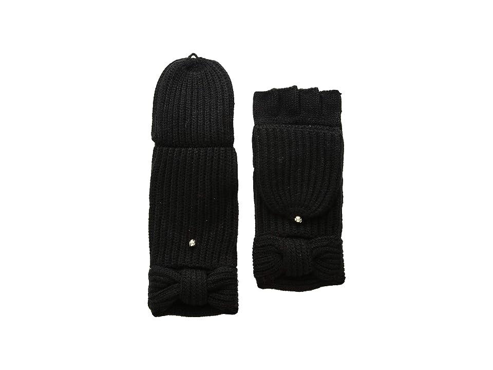 Kate Spade New York Solid Bow Pop Top Mitten (Black) Gore-Tex Gloves