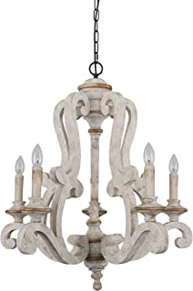 Farmhouse Wood Chandelier Candle Holder 5-Light Distressed White Wooden Chandelier French Country Rustic Chandelier Pendant Lighting with Adjustable Chain by Oaks Decor