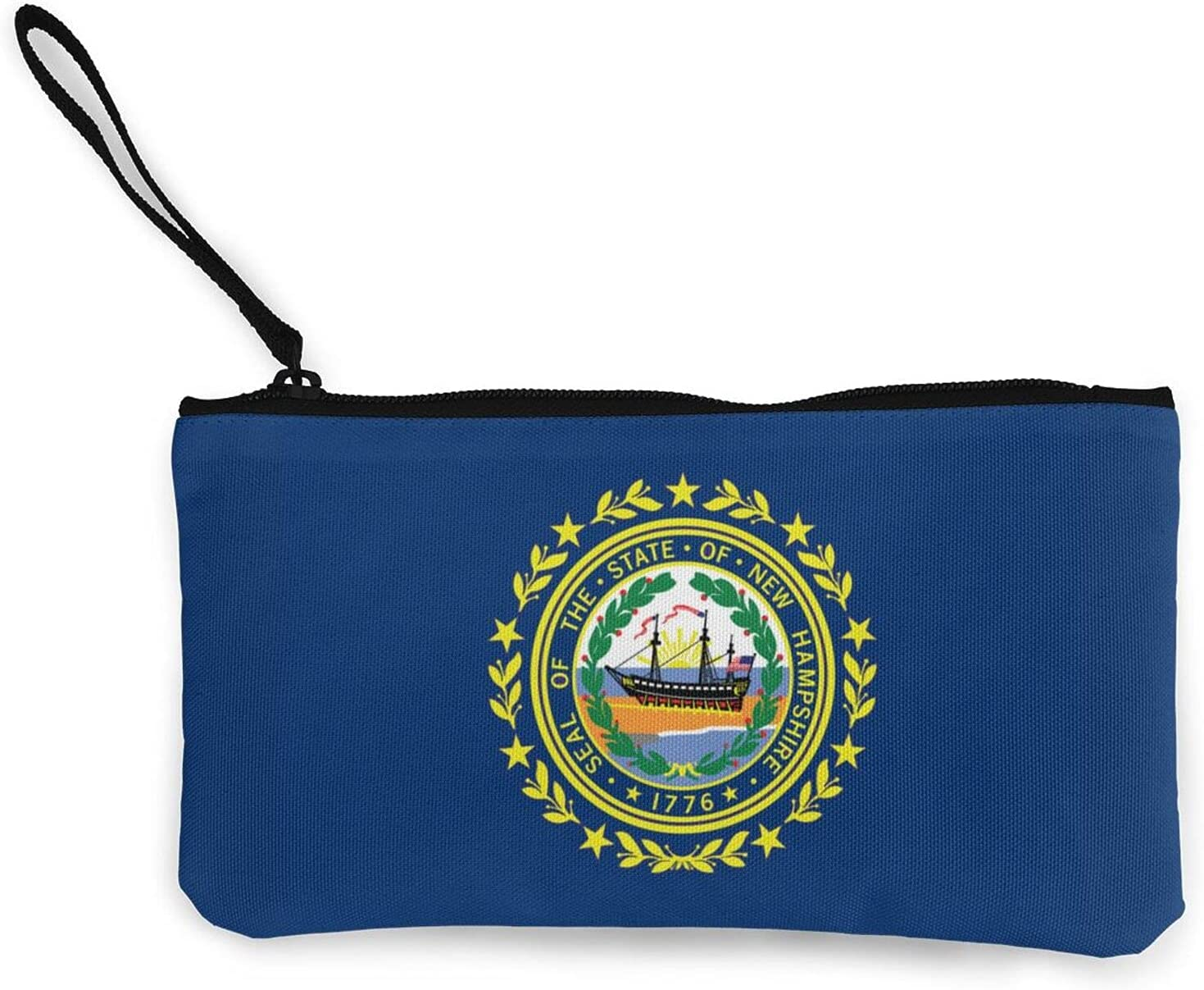 Flag Of New Hampshire Multifunction Travel Toiletry Pouch Small Canvas Coin Wallet Bag Zipper