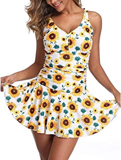 Kiyotoo Swim Dress One Piece Bathing Suit Skirted Swimsuits for Women Crossover Ruched Retro Swimwear S-3XL