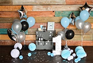 AOFOTO 8x6ft 1st Birthday Backdrop Balloon Paper Flower Decoration Photography Background Baby Boy Kid Infant Artistic Portrait Party Wood Wall Photo Studio Props Video Drop Seamless Vinyl Wallpaper