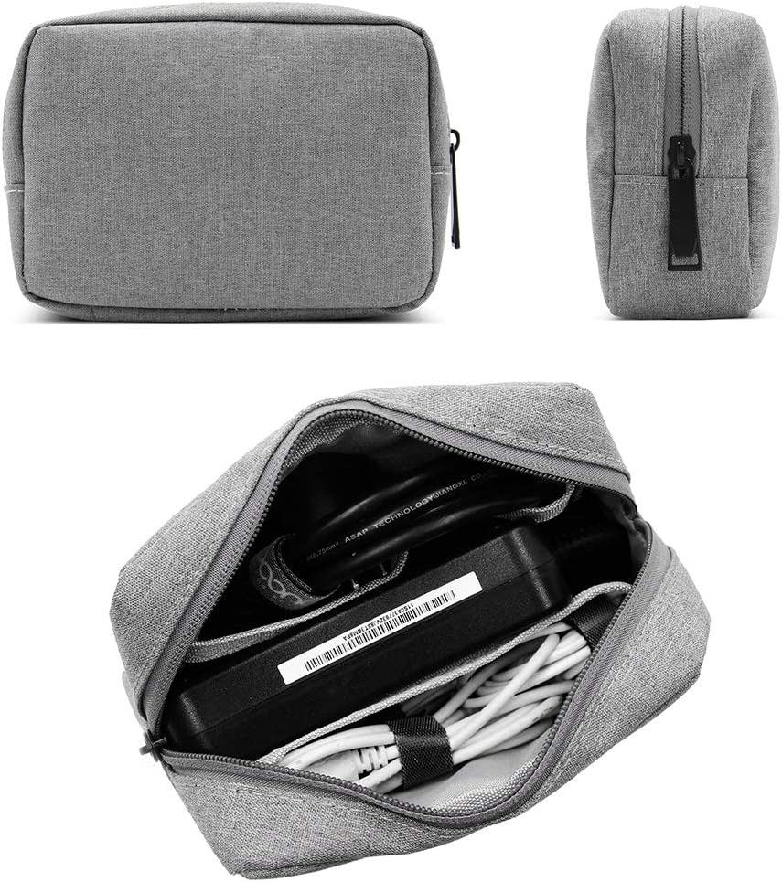 BOONA Travel Accessories Bag Organizer, Universal Electronics Travel Gadgets Carrying Case Bag for Charger USB Cables Earphone Flash Hard Drive Power Supply Makeup Cosmetic,Small Grey