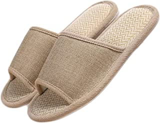 Crazy Lady Women's Men's House Flax Bamboo Straw Slides Open-Toe Slippers Flip Flop Slip on Bath Spa Summer Sandal Lightweight Shoes Breathable Four-Season Indoor