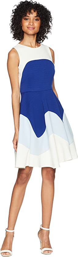 Color Block Textured Fit and Flare Dress