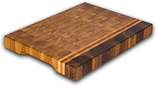 End Grain Wood cutting board - Wood Chopping block | Large cutting board 16x12 Kitchen butcher block Oak cutting board non slip cutting board with feet | Kitchen Wooden chopping board