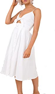 Halife Women Button Down Summer Dresses Beach Spaghetti Straps Short Dress