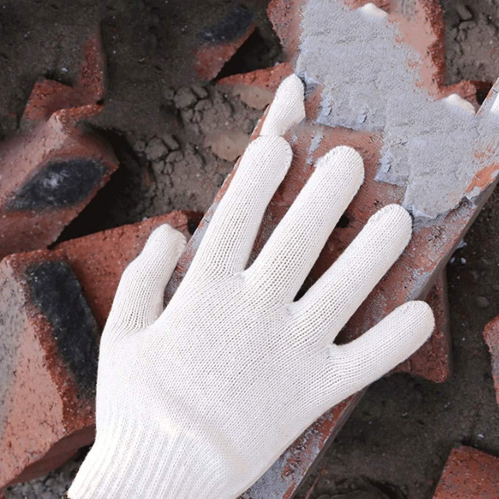NJ Guante- Guantes de Trabajo de Hilo de algodón, Guantes Protectores Resistentes al Desgaste (Color : Blanco, Tamaño : 21X9.6CM): Amazon.es: Hogar