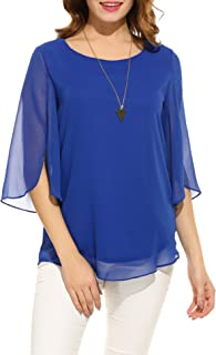 Womens Casual Scoop Neck Loose Top 3/4 Sleeve Chiffon Blouse Shirt Tops