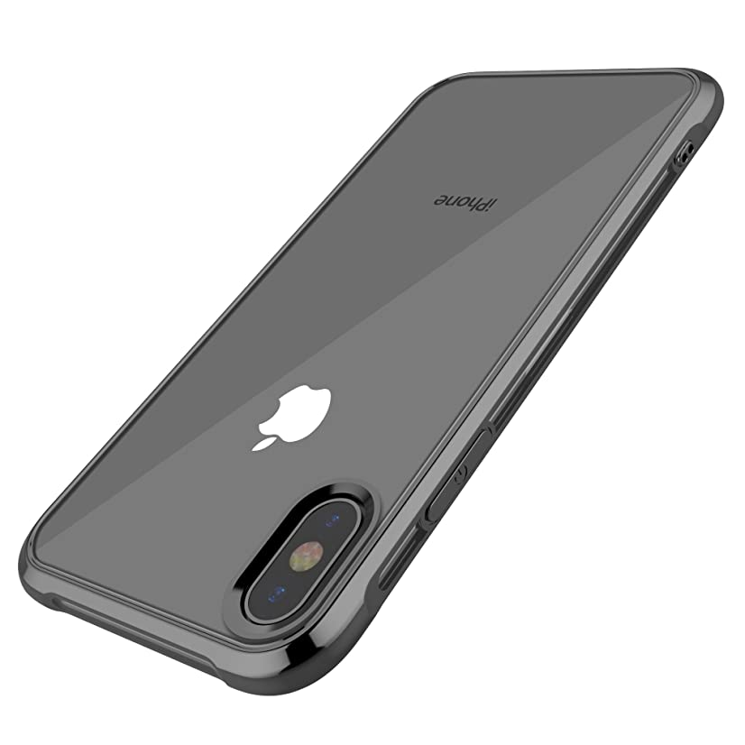 Compatible with iPhone X Case, iPhone Xs Case, OTOFLY Anti-Yellow Transparent TPU Shockproof Bumper Cover Full Body Drop Protective Ultra Thin Slim Durable Clear - Black