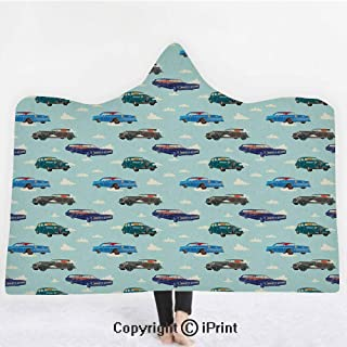 "Cars 3D Print Soft Hooded Blanket Boys Girls Premium Throw Blanket,Absurd Design with Vintage Cars in the Air with Clouds Old Vehicles Pattern,Lightweight Microfiber(Kids 50""x60"")Pale Blue Teal Umber"