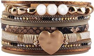 سوار جلدي من AZORA متعدد الأشرطة البيج لف الإسورة مع مجوهرات اللؤلؤ بوهو للنساء في سن المراهقة هدية للفتيات