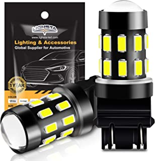 3157 LED Bulbs, LIGHSTA 1200 Lumens Super Bright 5630 Chipsets 3056 3156 3057 4057 3157K 4157 LED Bulbs with Projector for Backup Reverse Lights Tail Brake DRL Parking Lights, Xenon White(Pack of 2)