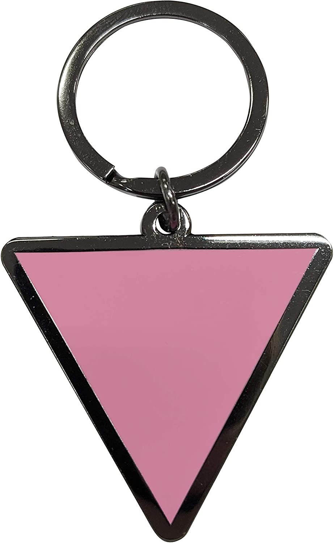 Pink Triangle - Gay and Lesbian LGBTQ Support Pride Symbol - 1.75 inch Enamel Keychain with Keyring