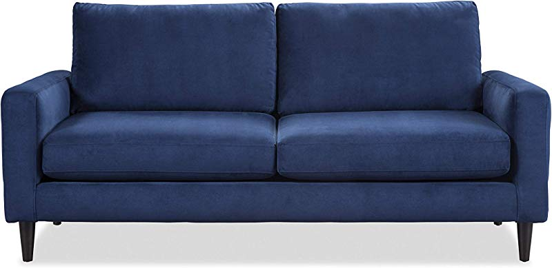 Sofab Alexandria Series 2 Seat Sofa Modern Living Room Couch Made With Long Lasting Materials And Sturdy Wood Frame Construction 73 W Indigo Blue