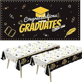 2021 Graduation Decorations,Graduation Party Tablecloth and Backdrops,Graduation Party Supplies Decoration Set,2PCS Plasti...