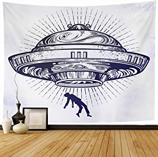 Ahawoso Tapestry 80 x 60 Inches Conspiracy Fantastic Alien Spaceship UFO Abduction Human Tattoo Flying Saucer Aged Attack Design Home Decor Wall Hanging Print for Living Room Bedroom Dorm