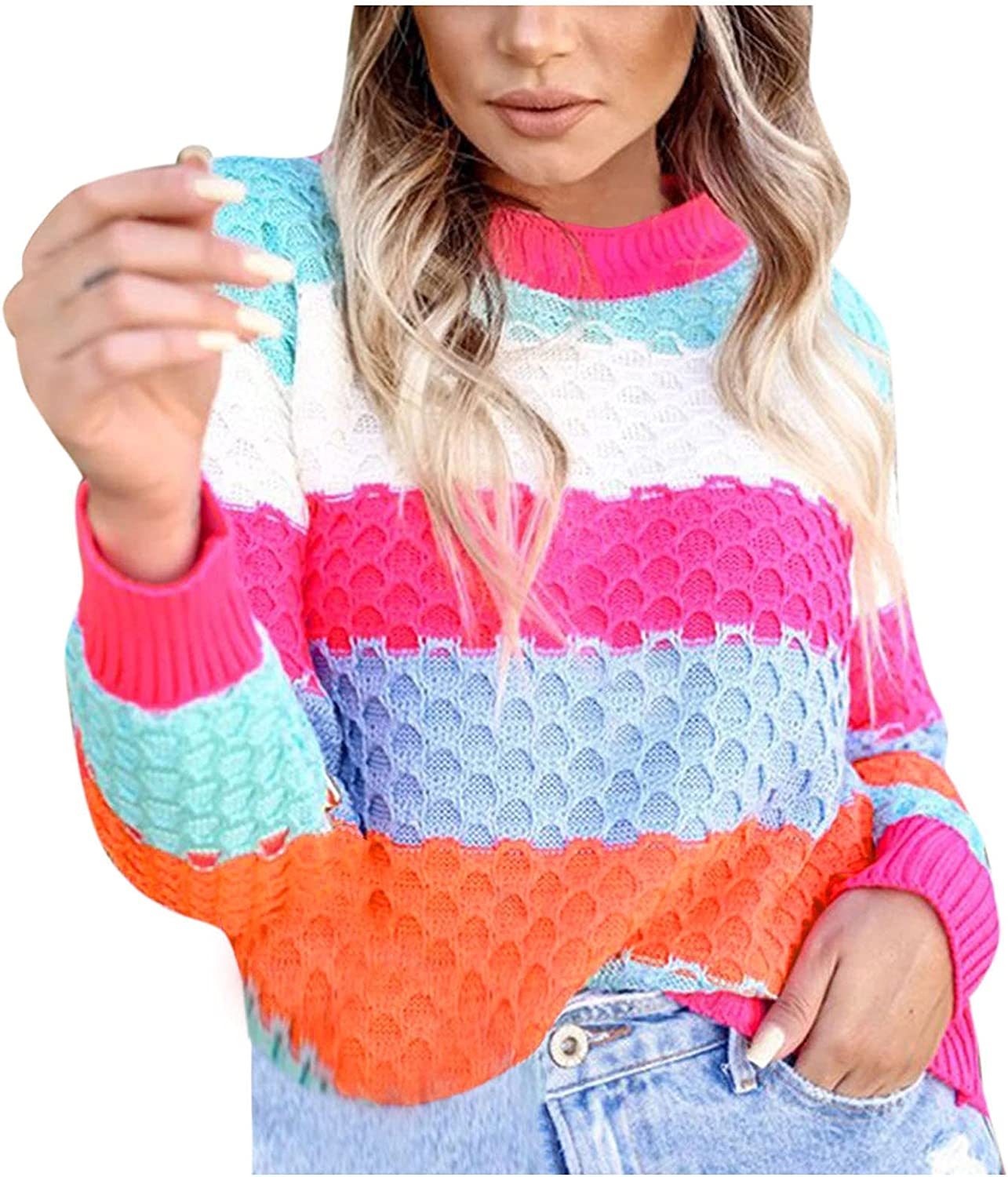 PLENTOP Women's Long Sleeve Crew Neck Striped Color Block Comfy Loose Oversized Knitted Pullover Sweater